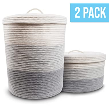 Cotton Rope Basket Set of 2 with Handles - Large Blanket Basket and Small Woven Basket for Toy Storage, Laundry Basket, Dog Toy Basket, Shoe Storage Baskets, Short and Tall Round Basket for Blankets