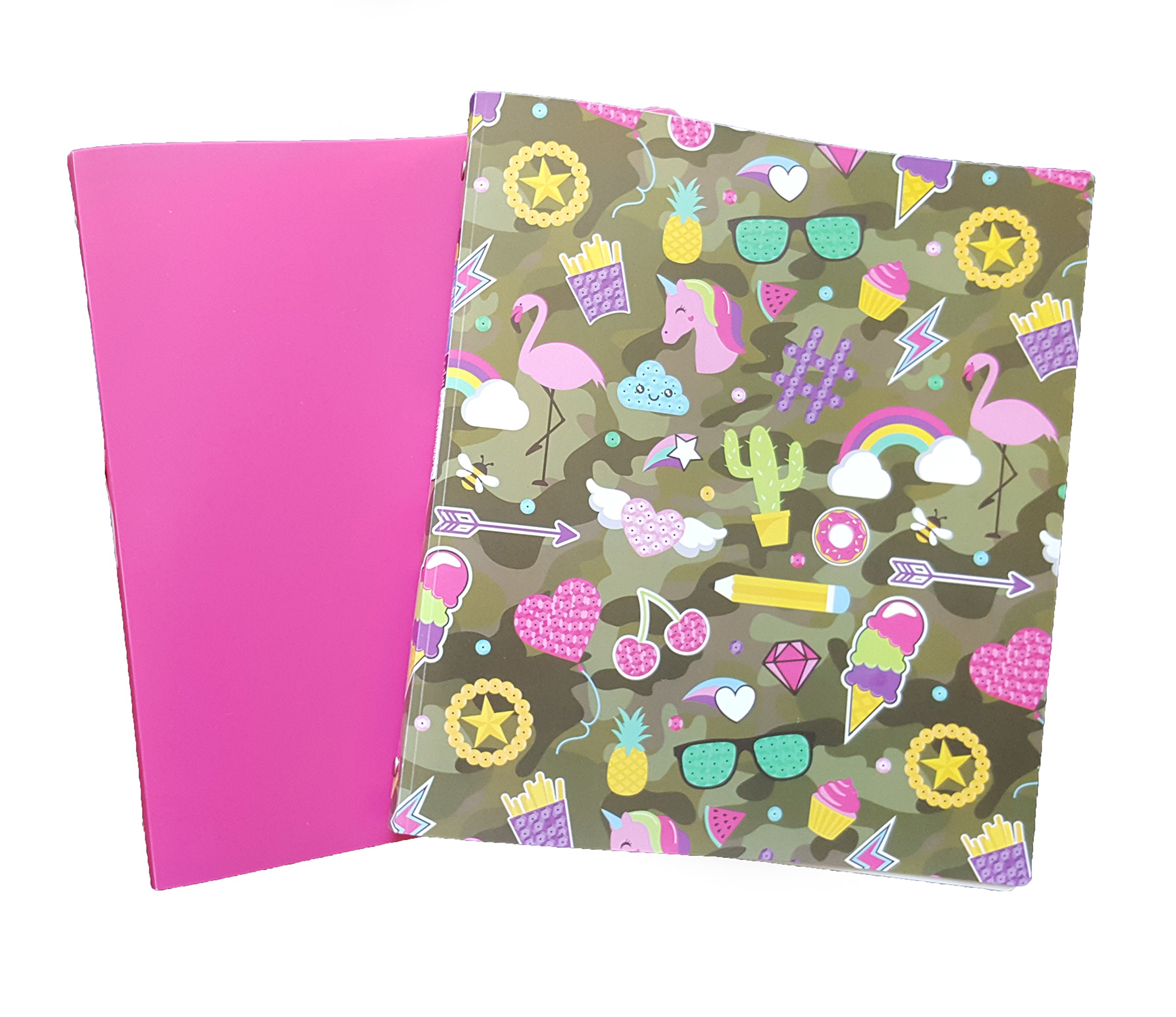 Brightly Colored Couture Flexible Poly 3-Ring Binders, 1'' Girls, Set of 2 (Camo/Pink)