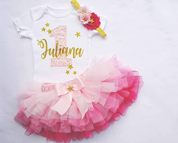 2cd452c5 Amazon.com: Personalized Pink Ombre and Gold Twinkle twinkle Little Star First  Birthday outfit girl: Handmade