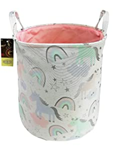 HUNRUNGLarge Laundry Hamper,Cartoon Organizer Bin for Baby Nursery,Toys,Laundry,Baby Clothing,Gift Baskets(Unicorn)