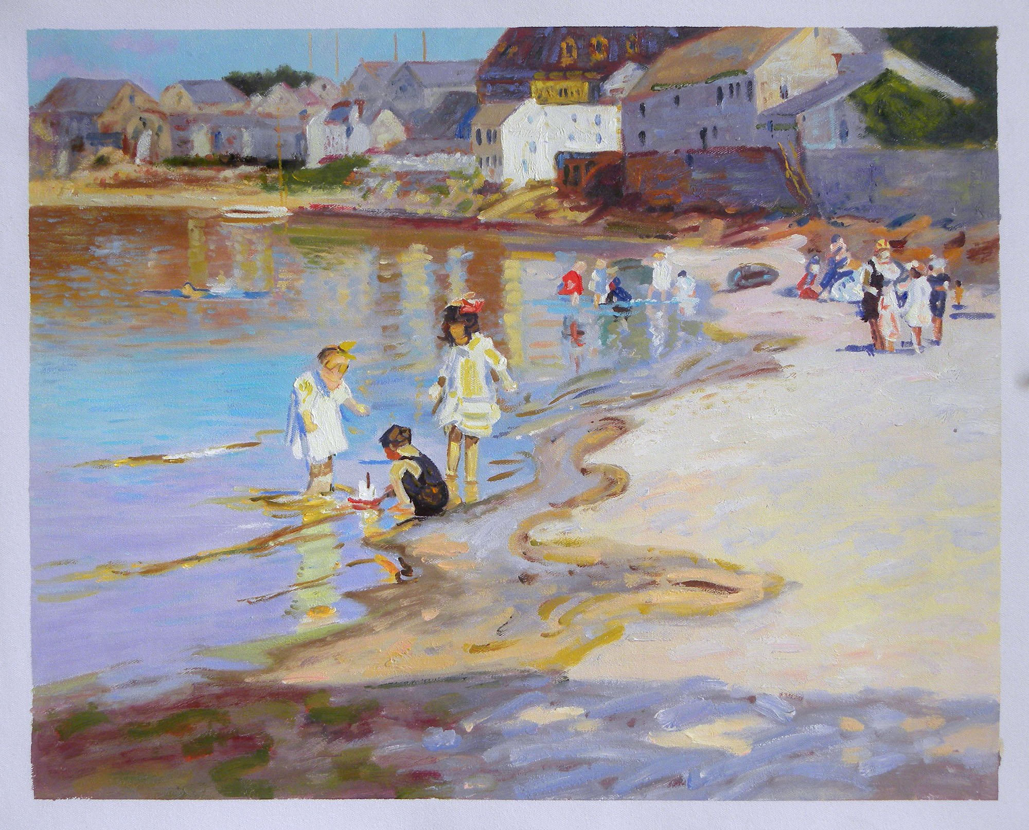 At the Beach - Edward Potthast hand-painted oil painting reproduction,Children Playing on Riverbank,living room impressionist wall art decor (20 x 25.5 in.) by Edward Henry Potthast (Image #1)