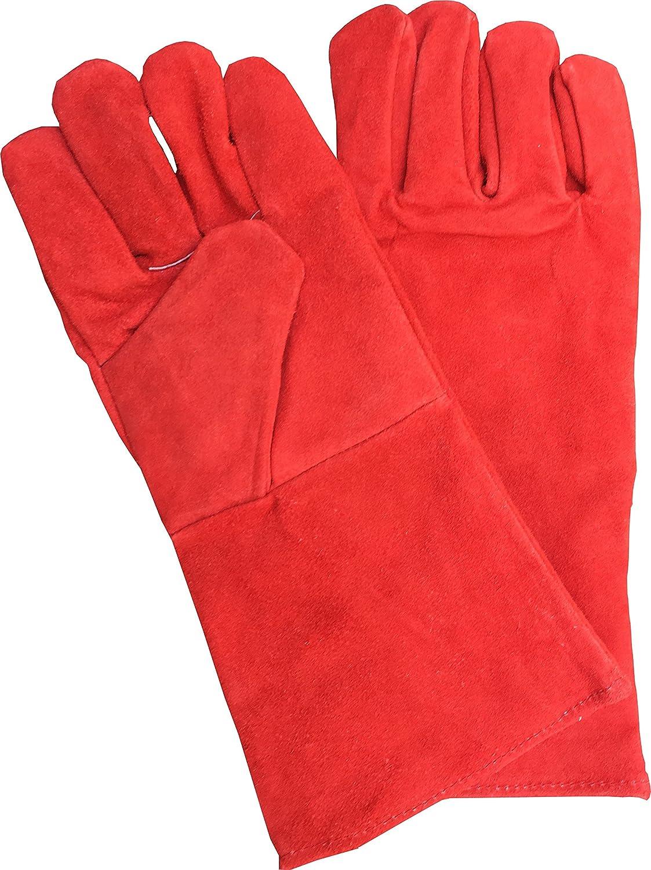 Guantes de soldadura de 390 mm de largo, guanteletes soldadores, guantes para chimeneas con leñ a, guantes de trabajo resistentes al calor, para alta temperatura de la estufa, barbacoa, con forro largo para soldar, guantes de trabajo de seguri