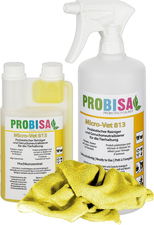 Neutralizadores de olor spray (Probisa Micro-Vet 813) de la orina del gato, perro y los roedores olores - y bio limpiador concentrado 500ml rendimiento 25 litros listos para usar asesino de olor / Rem