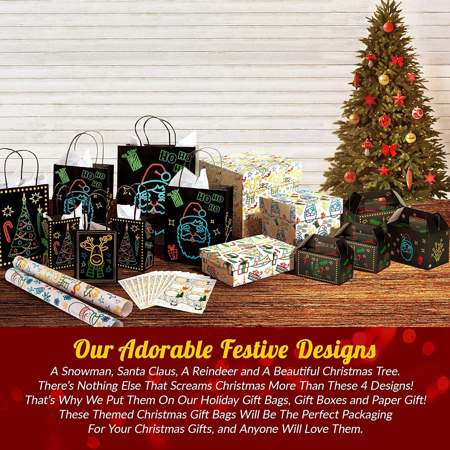 Gift Set With Unique Luminous Festive Designs /& Patterns 22 Piece 11 Bags Of 4 Different Designs Christmas Holiday Glow-In-The-Dark Gift Bag 3 Sizes Large medium small /& 11 White Tissue Papers