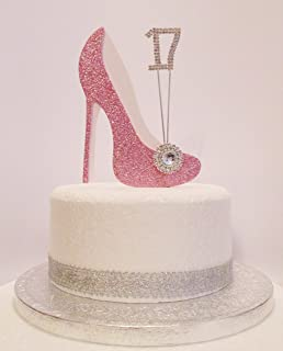 17th Birthday Cake Decoration Pink White Shoe With Crystal Embellishments And Diamante Number Non