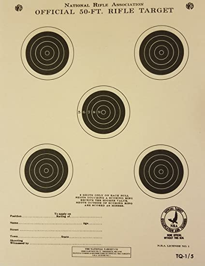image about Printable Nra Pistol Targets named : Formal NRA Concentration, TQ-1/5, 50 Feet. Rifle, Pack