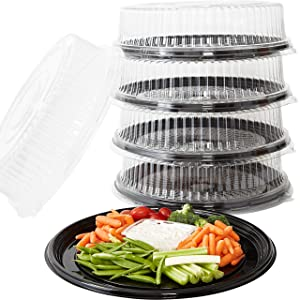 Heavy Duty, Recyclable 16 in. Serving Tray and Lid 5pk. Large, Black Plastic Party Platters with Clear Lids. Elegant Round Banquet or Catering Trays for Serving Appetizers, Sandwich and Veggie Plates