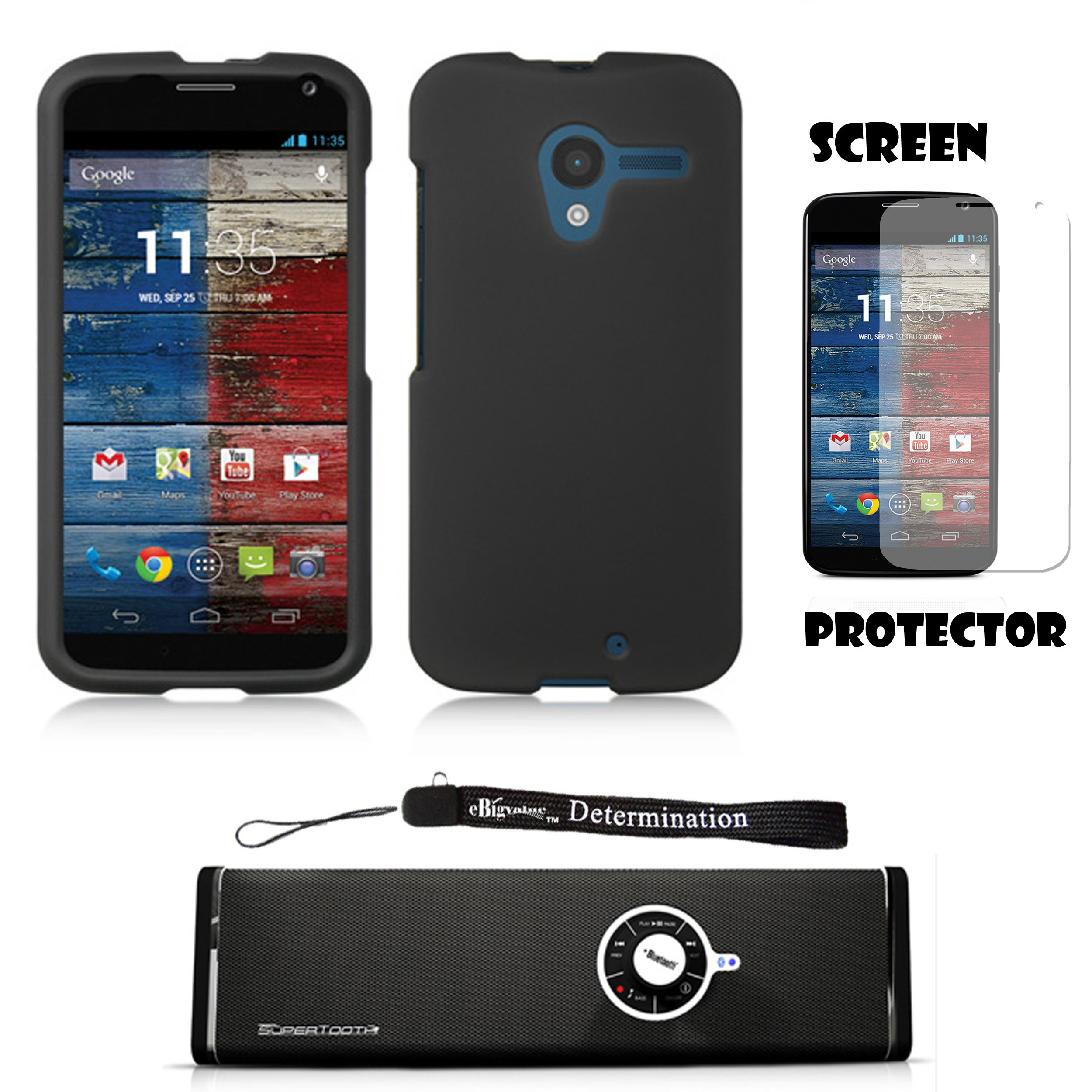 Black Premium Hard Design Crystal Case Snap On Cover For Motorola Moto X Android OS V4 2.2 (Jelly Bean) + Motorola Moto X Clear Screen Protector + Supertooth Disco Bluetooth Speaker with AUX Cable + an eBigValue Determination Hand Strap by eBigValue