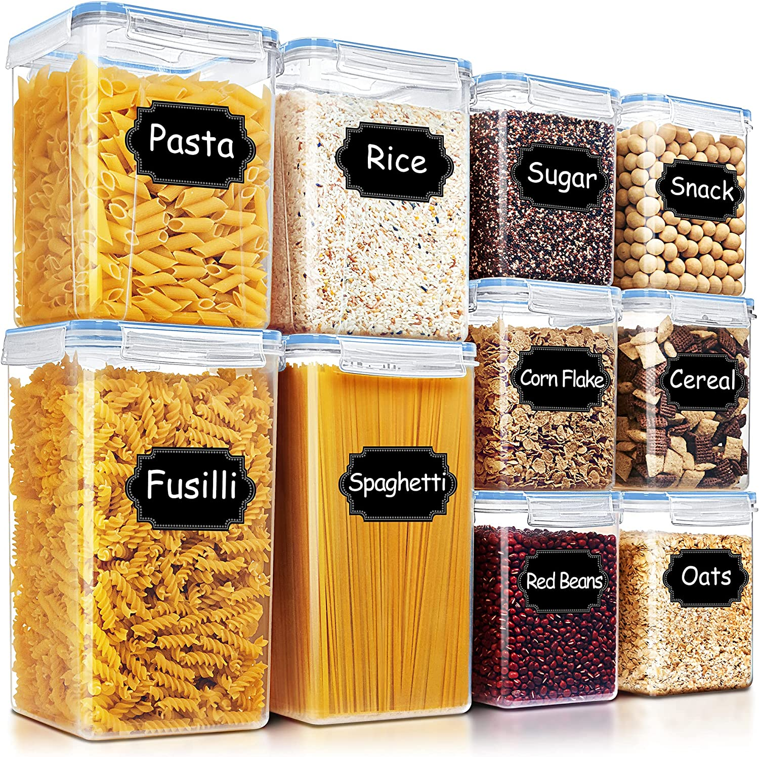 Airtight Food Storage Containers - Blingco 10 PCS Large Cereal Dry Food Storage Containers, Kitchen & Pantry Organization Canisters with Lids - BPA Free for Flour, Sugar, Baking Supplies - Blue
