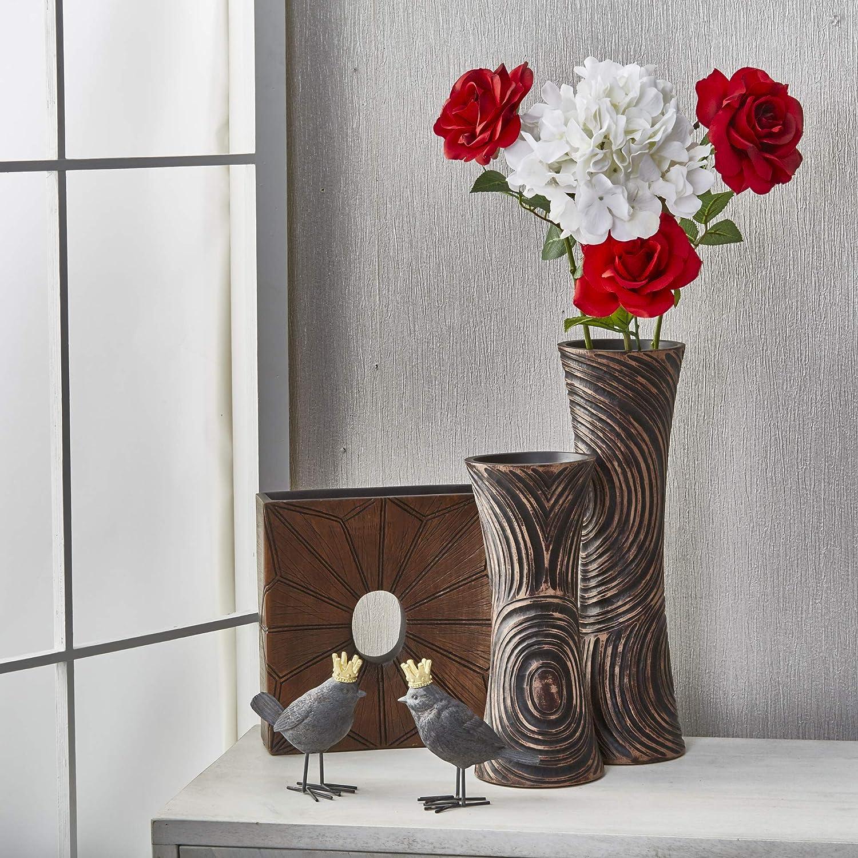 Brown Vases 5 x 5 x 12.25 Inches Benzara Accessorizing Flair Decorative Resin