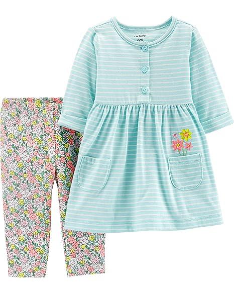 68e04495da401 Amazon.com: Carter's Baby Girl's Striped Dress and Floral Legging ...
