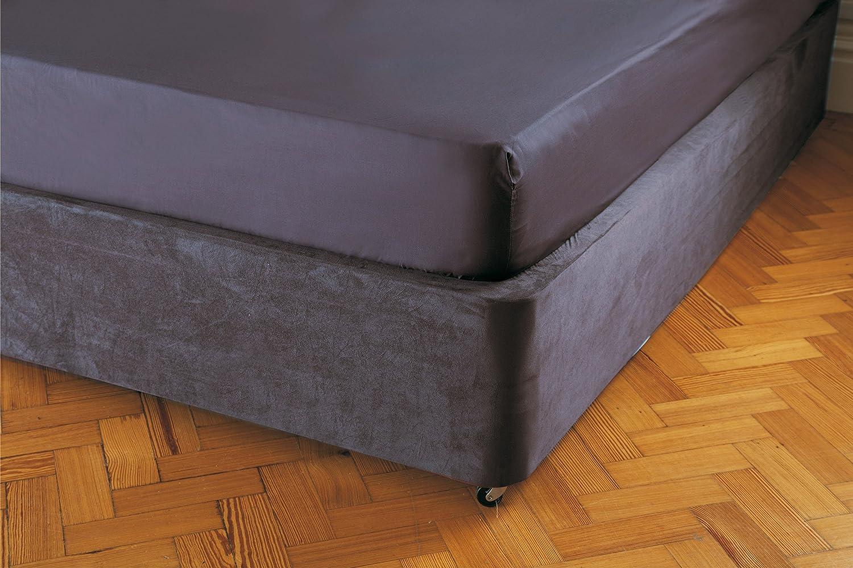 Divan bed base single hf4you brown faux leather divan bed for Divan valance sheet
