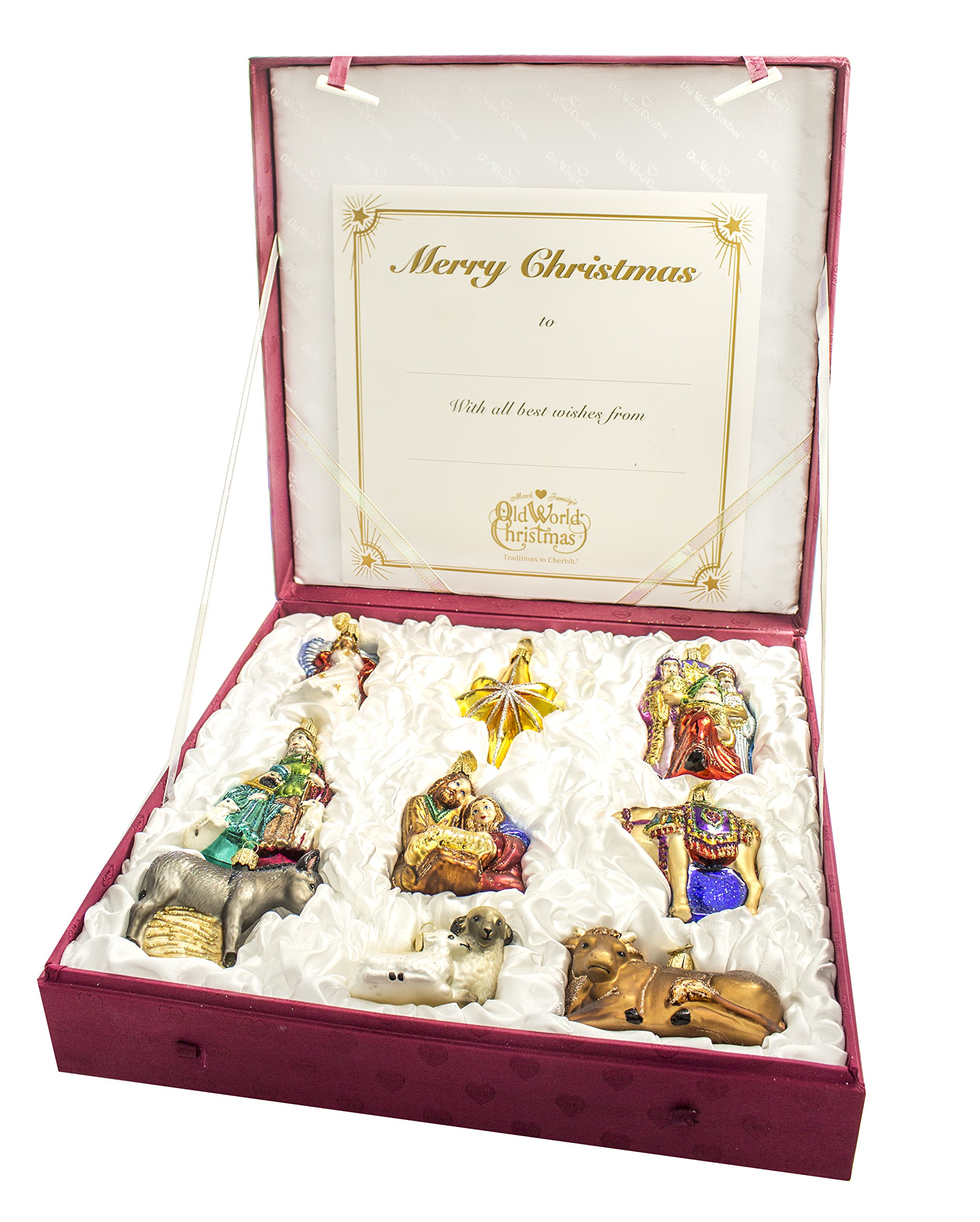 Old World Christmas Nativity Collection Glass Ornaments Set of 9 14020 by Old World Christmas