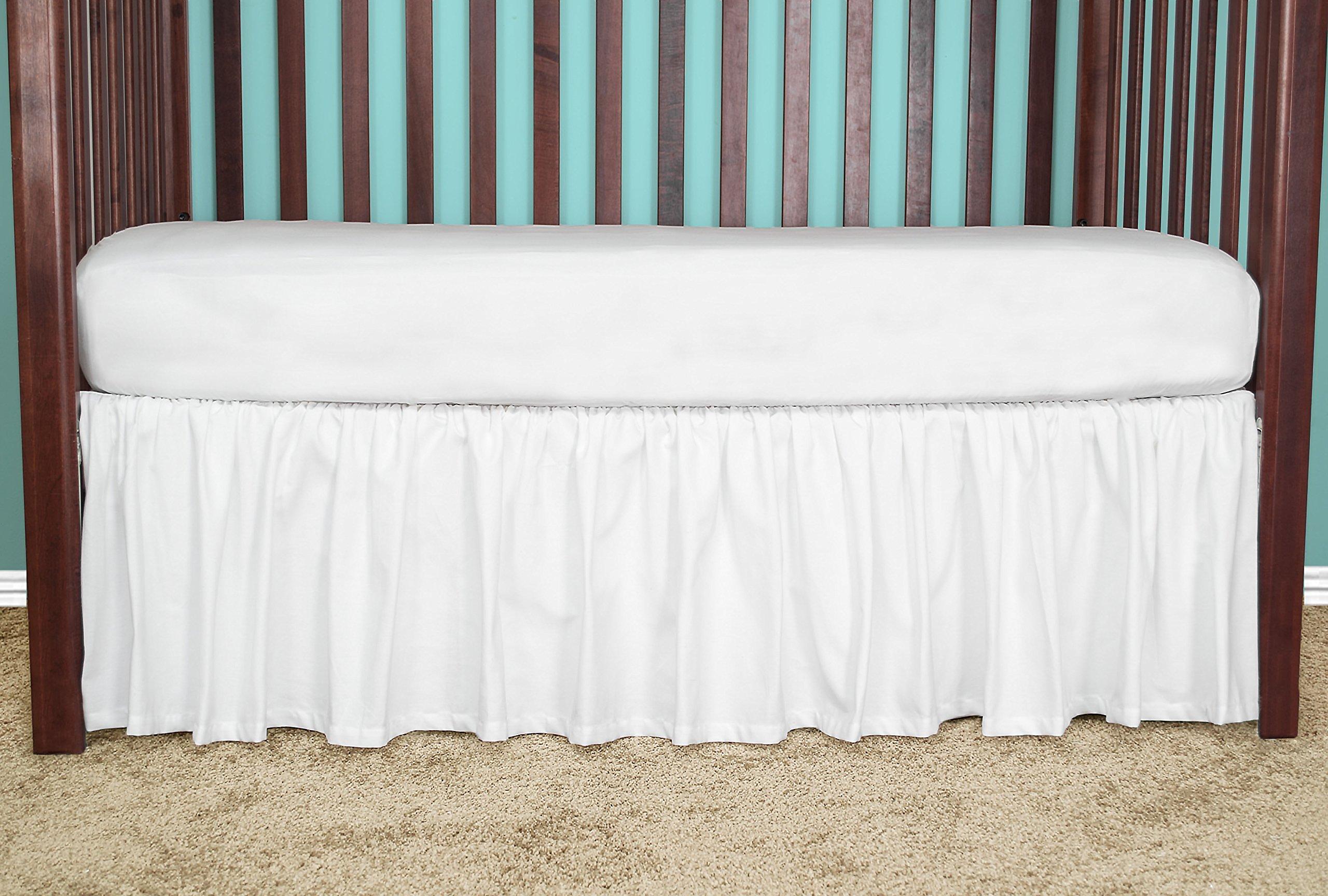 21 inch long WHITE Cribskirt Gathered Crib Dust Ruffle by Bobfriend