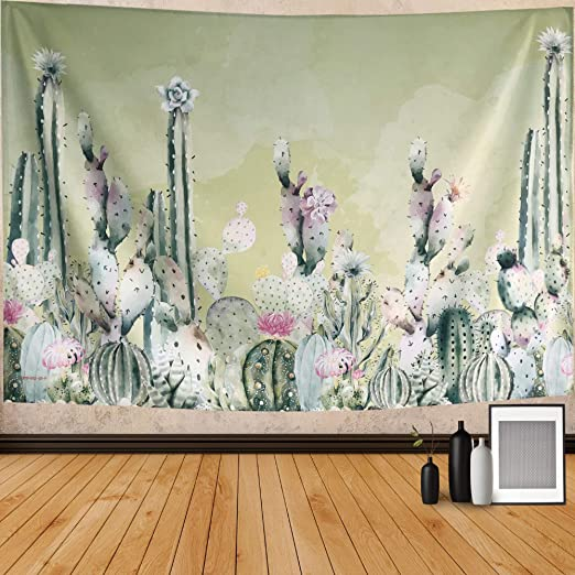 Desert Cactus Tapestry Art Wall Hanging Plant Sunset Tapestry Living Room Decor