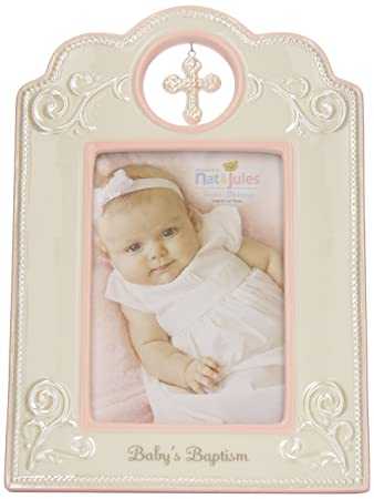Amazon.com : Nat and Jules Baby\'s Baptism Frame, Pink : Nursery ...