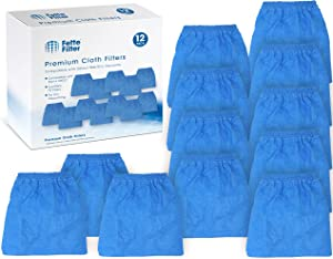 Fette Filter - Premium Quality 12 Pack of Cloth Filter Bags VRC5 for Vacmaster 4 to 16 Gallon Wet/Dry Vacuums