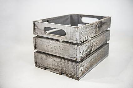 Caja de Almacenamiento con Asas Sam, Caja Tipo Fruta con Asas de Madera, Gris