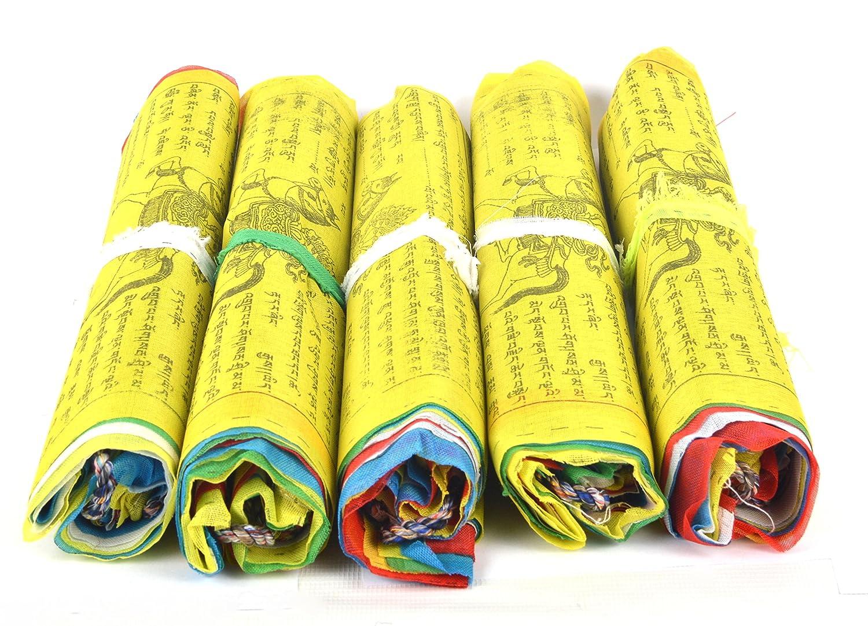 Mantras et 5 Dessins Caract/éristiques FH-FLAG-1042 Lungta Bermoni Drapeaux de pri/ère en Coton Bouddhiste tib/étain tib/étain B1