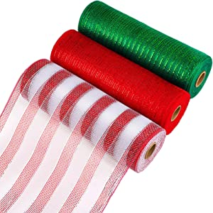 Aneco 3 Rolls Decor Poly Mesh Ribbon 10 Inches x 10 Yards 3 Colors Red, Green, Red and White Stripes Christmas Mesh Rolls Metallic Foil Rolls for DIY Project, Christmas Decoration Wreaths