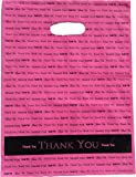 """12x15 Hot Pink """"Thank You"""" Die Cut Handle Plastic Bags 50/cs - Bags Direct Brand"""
