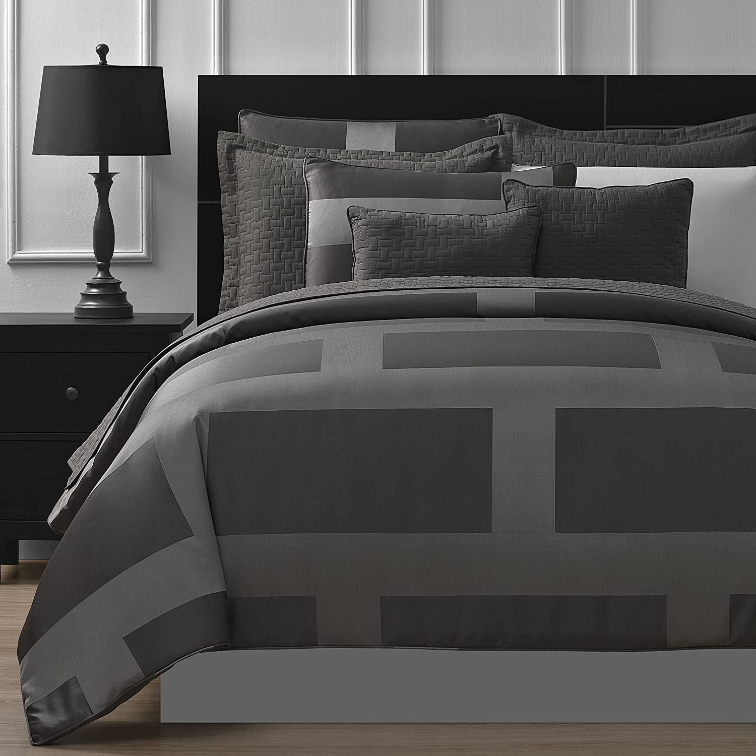 Jacquard Microfiber 5-Piece Comforter Set (King, Gray)