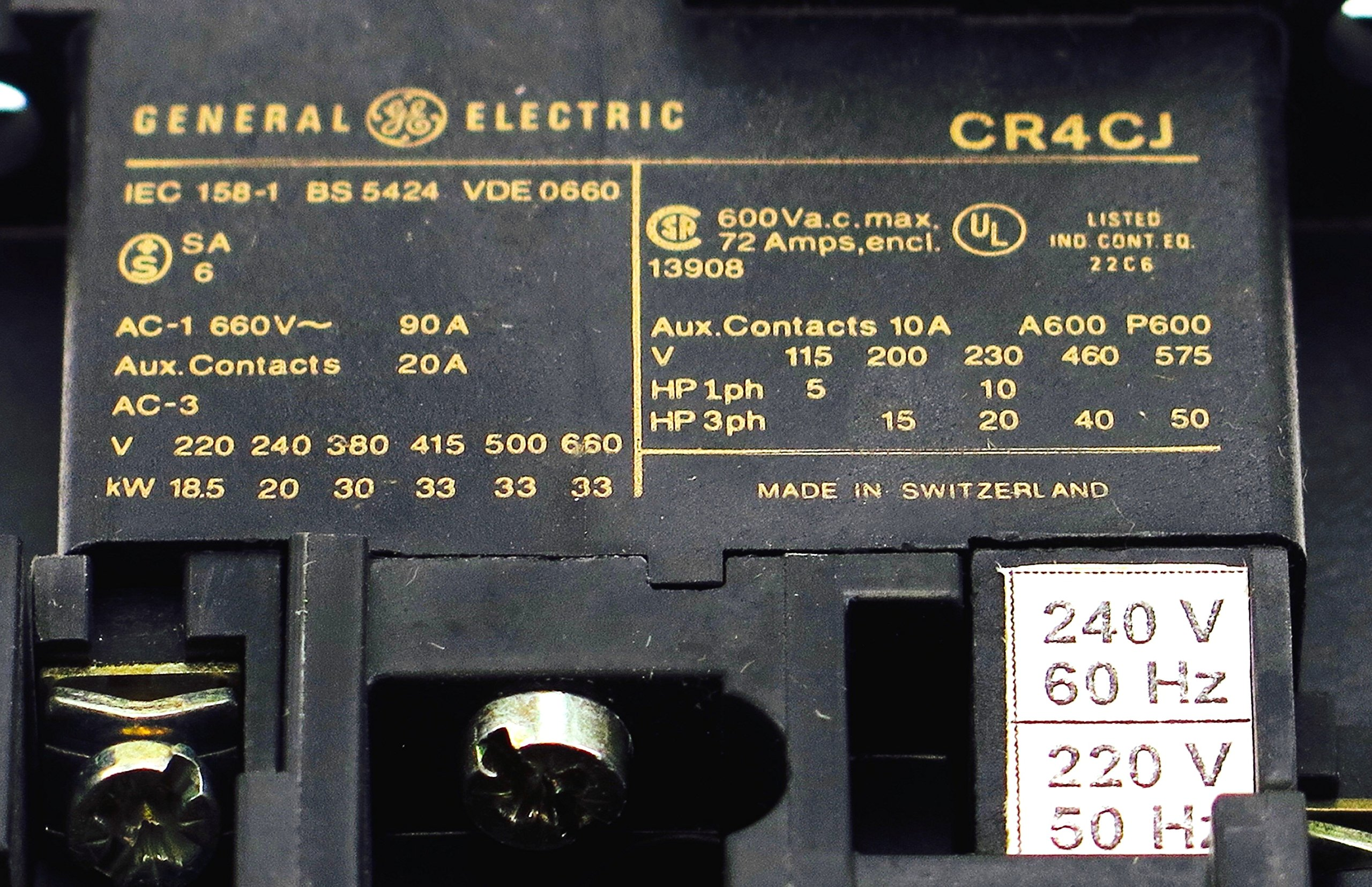 GE CR4CJB MAGNETIC CONTACTOR 56A 50HP 220/4240V 50/60HZ AC COIL FITS SPRECHER SCHUH CA3-60-220-NO by GE (Image #3)