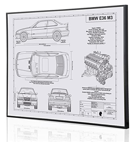 Amazon bmw e36 m3 blueprint artwork laser marked personalized bmw e36 m3 blueprint artwork laser marked personalized the perfect bmw gifts malvernweather Gallery
