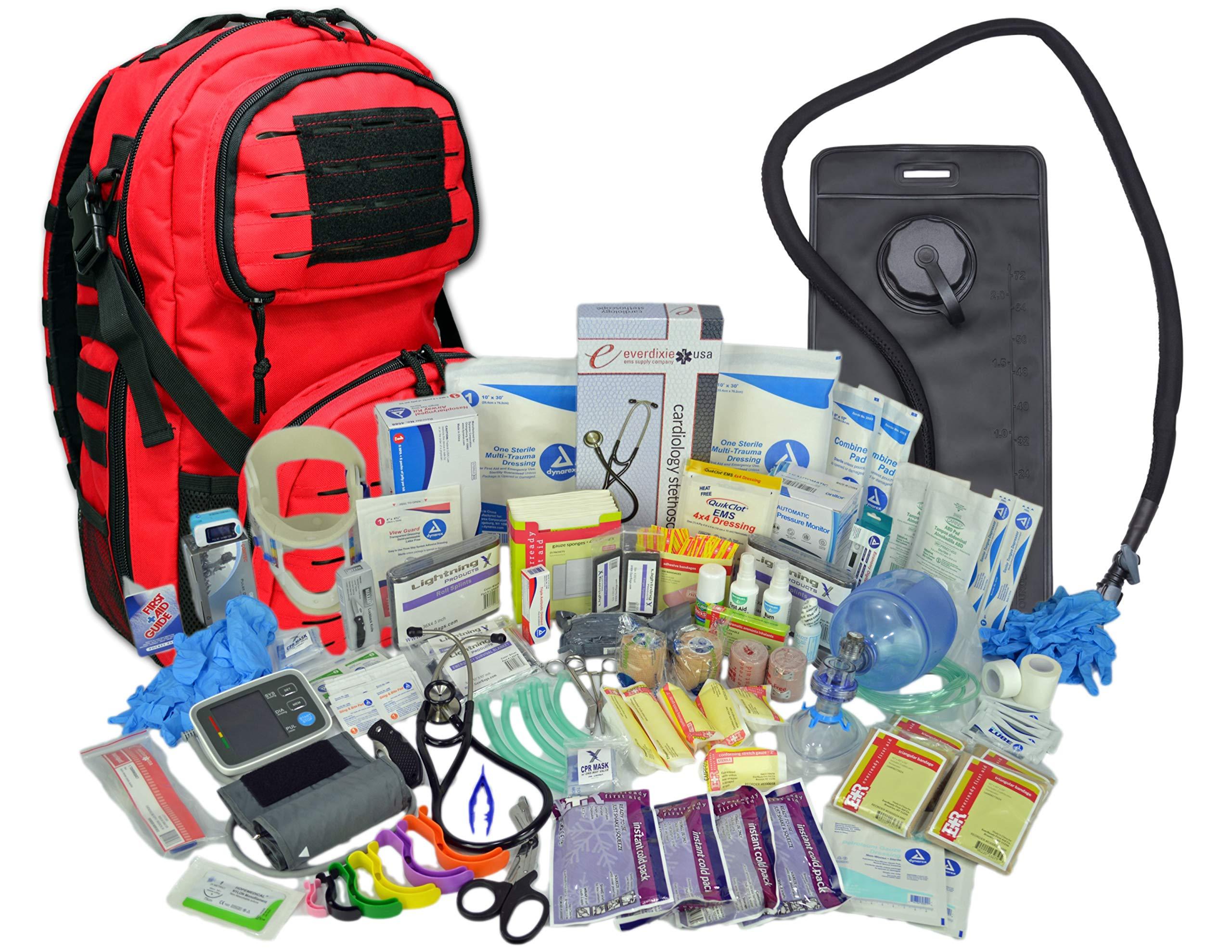 Lightning X Premium Stocked Tactical EMS/EMT Trauma First Aid Responder Medical Kit Backpack (Red w/Hydration Bladder)