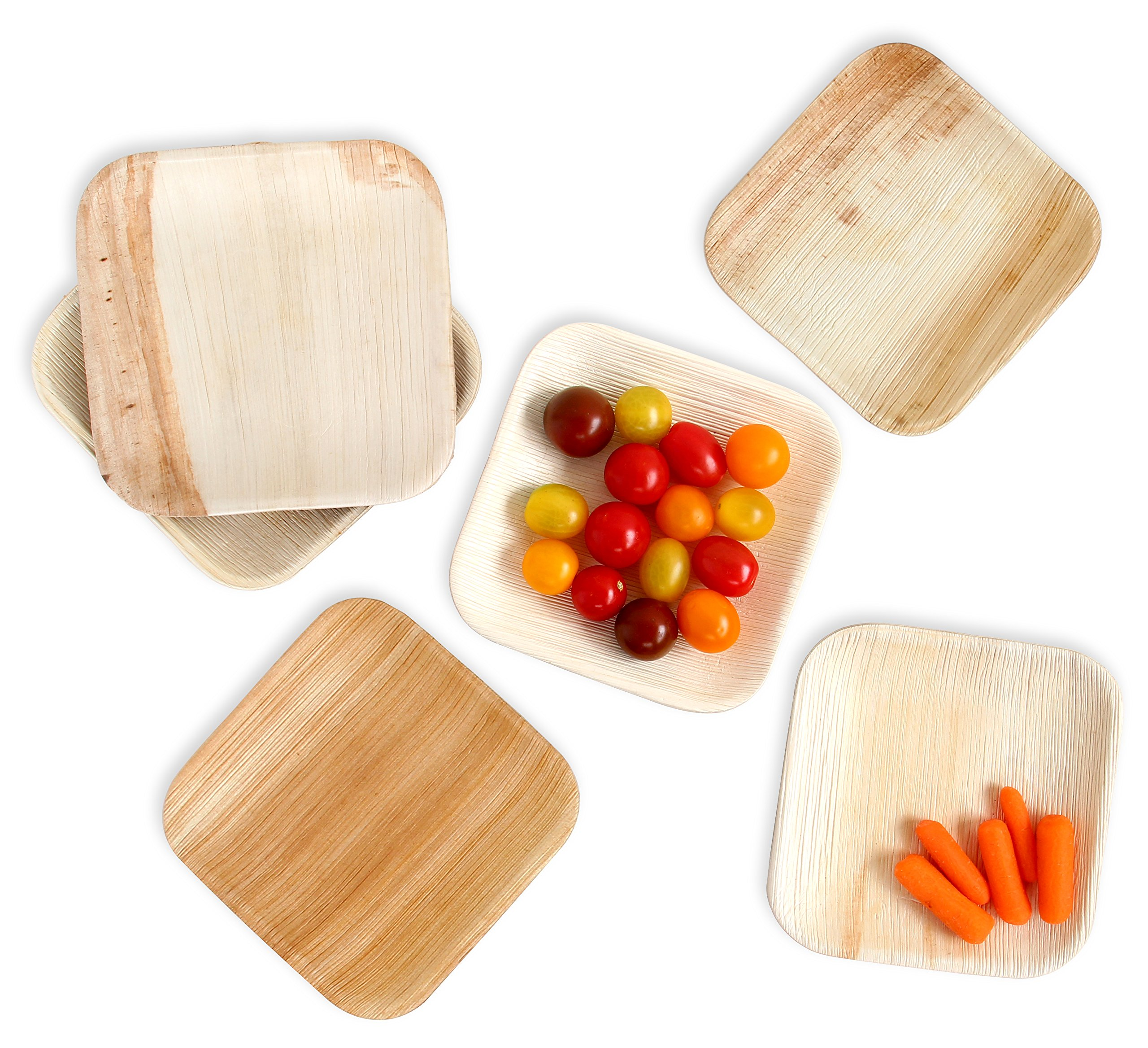 Leafily Palm Leaf Plates - 6 inch Square - Heavy Duty - Elegant - 100% Compostable - Better than Bamboo or Wood - Disposable - Biodegradable - Premium Party Plates - USDA Certified - 22 Count