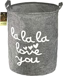 HUNRUNG Large Home Organizer Bin, Storage Bags, Cotton and Linen Clothes Hamper, Foldable & Waterproof Laundry Basket for Bedroom, Bathroom, Baby Nursery, Toy Organizer (Grey)