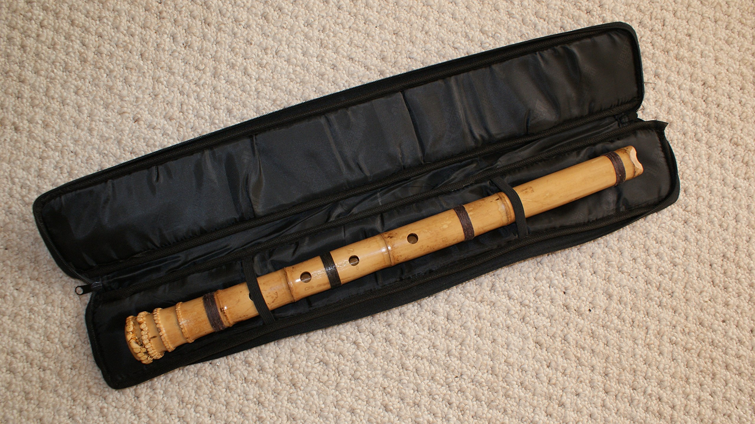 Black PE Sleeve Pouch Bag w. Zipper (26 X 4 inch) - for Bamboo Flutes/Shakuhachi ONLY, NOT for Clarinet (Too Short)