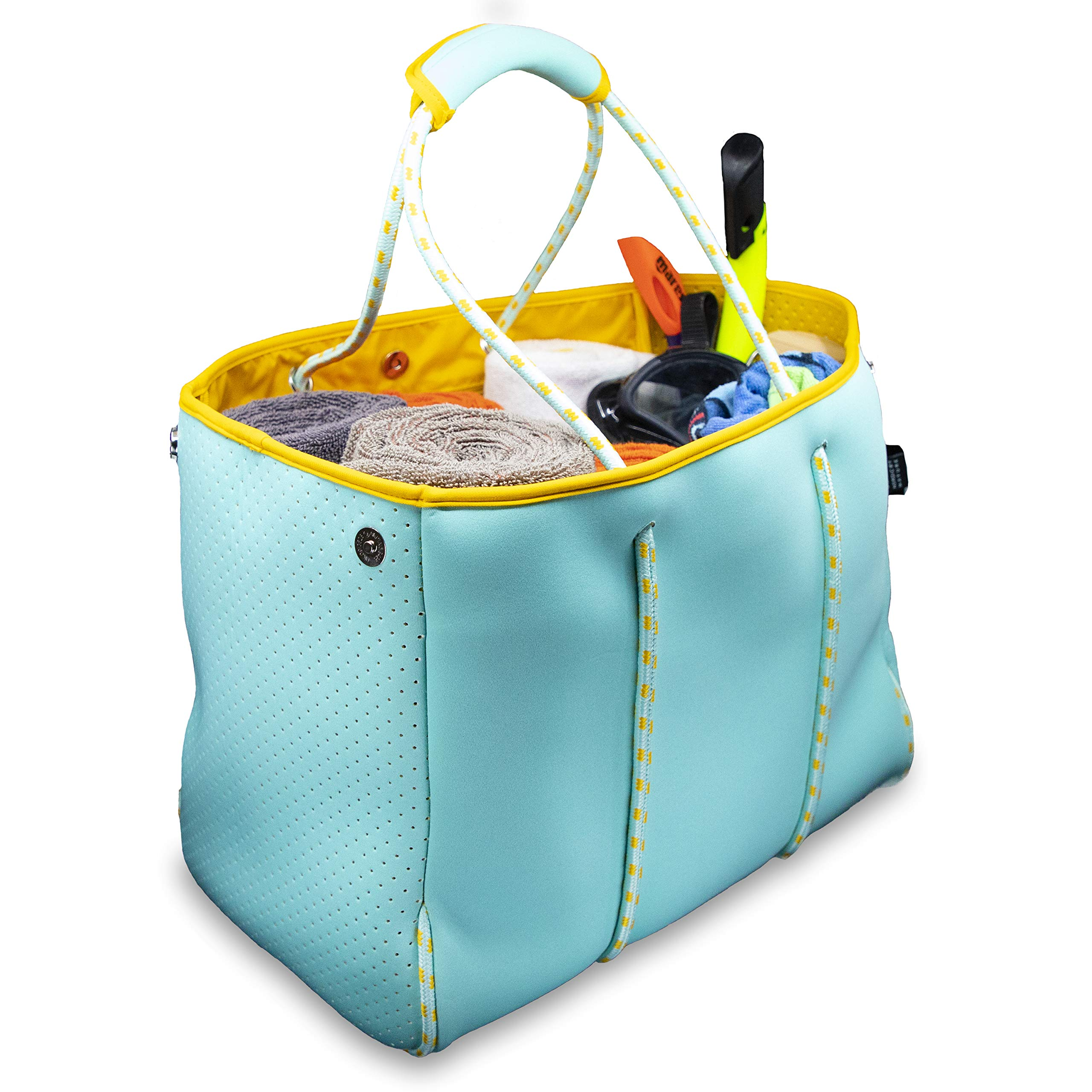 Nordic By Nature Large Designer Beach Bag Tote For Women, Men And Kids | Versatile Pool Bag With Zippered Pockets | Room For Towels, Toys And Lotion | For The Boat, Beach or Pool (Turquoise/Yellow)