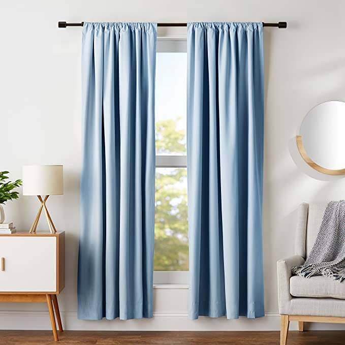 "AmazonBasics Room Darkening Blackout Curtain Set of 2 with Tie Backs - (7 Feet - Door) 52"" x 84"", Smoke Blue"