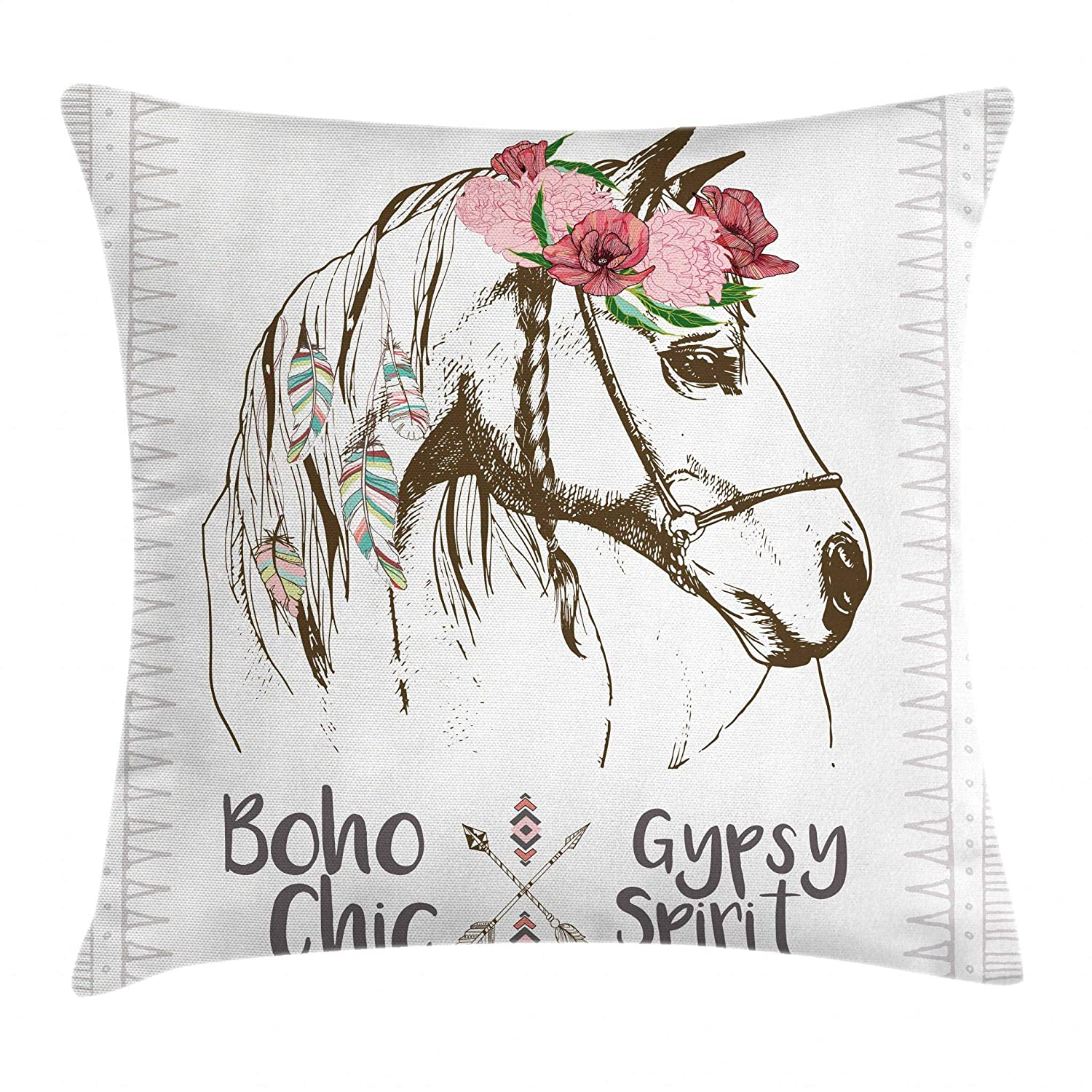 Ambesonne Animal Throw Pillow Cushion Cover, Boho Horse Head Sketch with Flowers Colorful Feathers Gypsy Spirit, Decorative Square Accent Pillow Case, 24 X 24 Inches, Army Green Pale Pink Grey