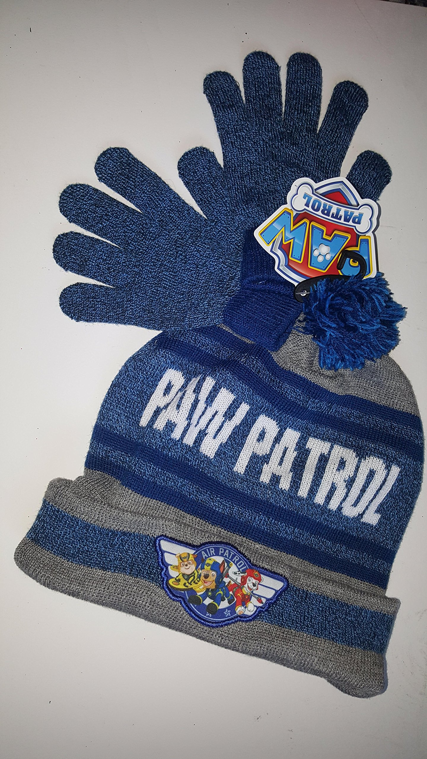 spin Master Paw patrol Paw Patrol Blue and Grey Knit Hat and Gloves With Embroidered Patch On it AndSKI Patrol Knit In it