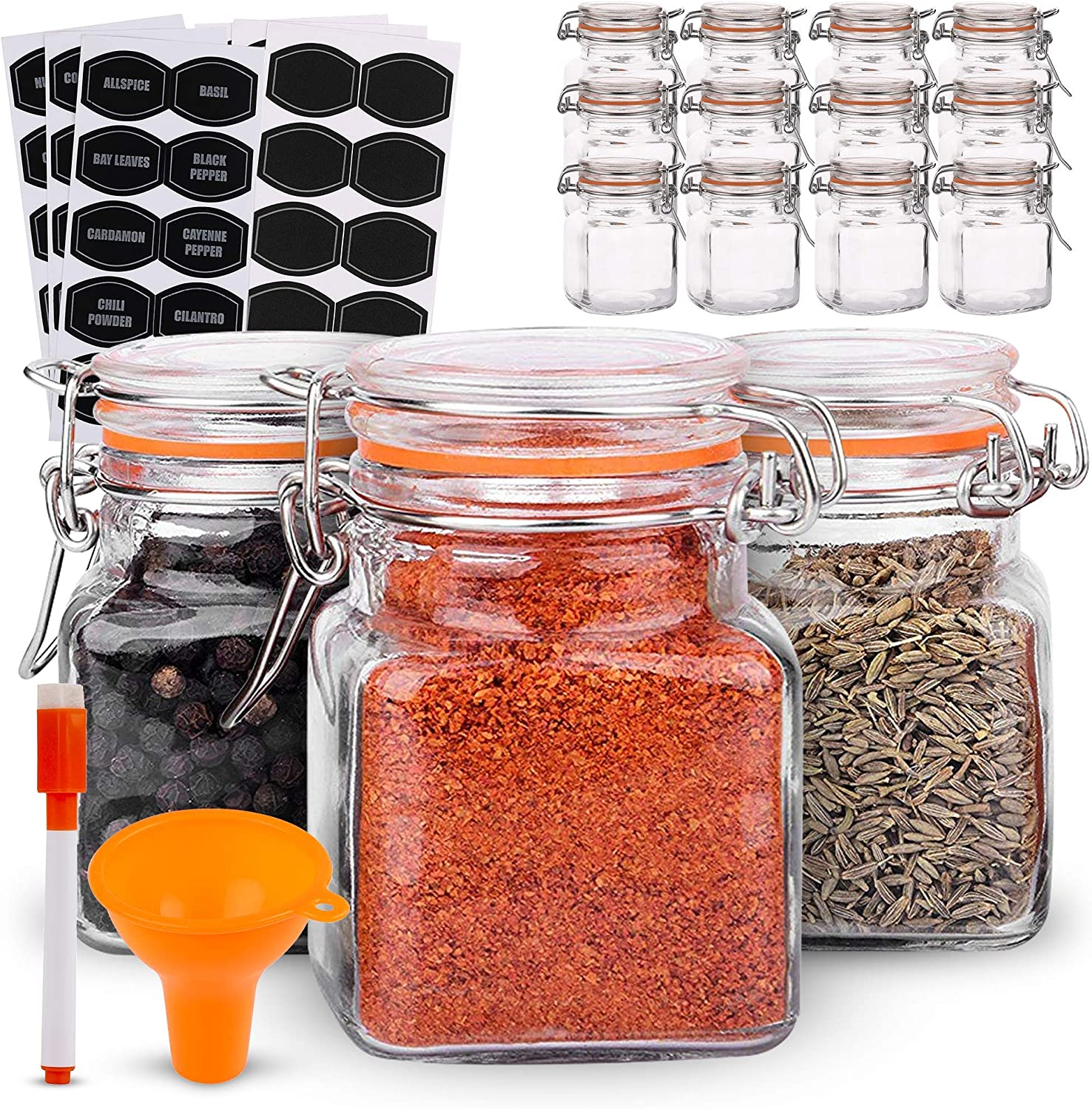 Yarlung Set of 4 Glass Seasoning Box with Plastic Tray and Serving Spoons Gourmet/Salt Containers Condiment Canisters Spice Jars for Kitchen Cooking Supplies Seasoning Not Included