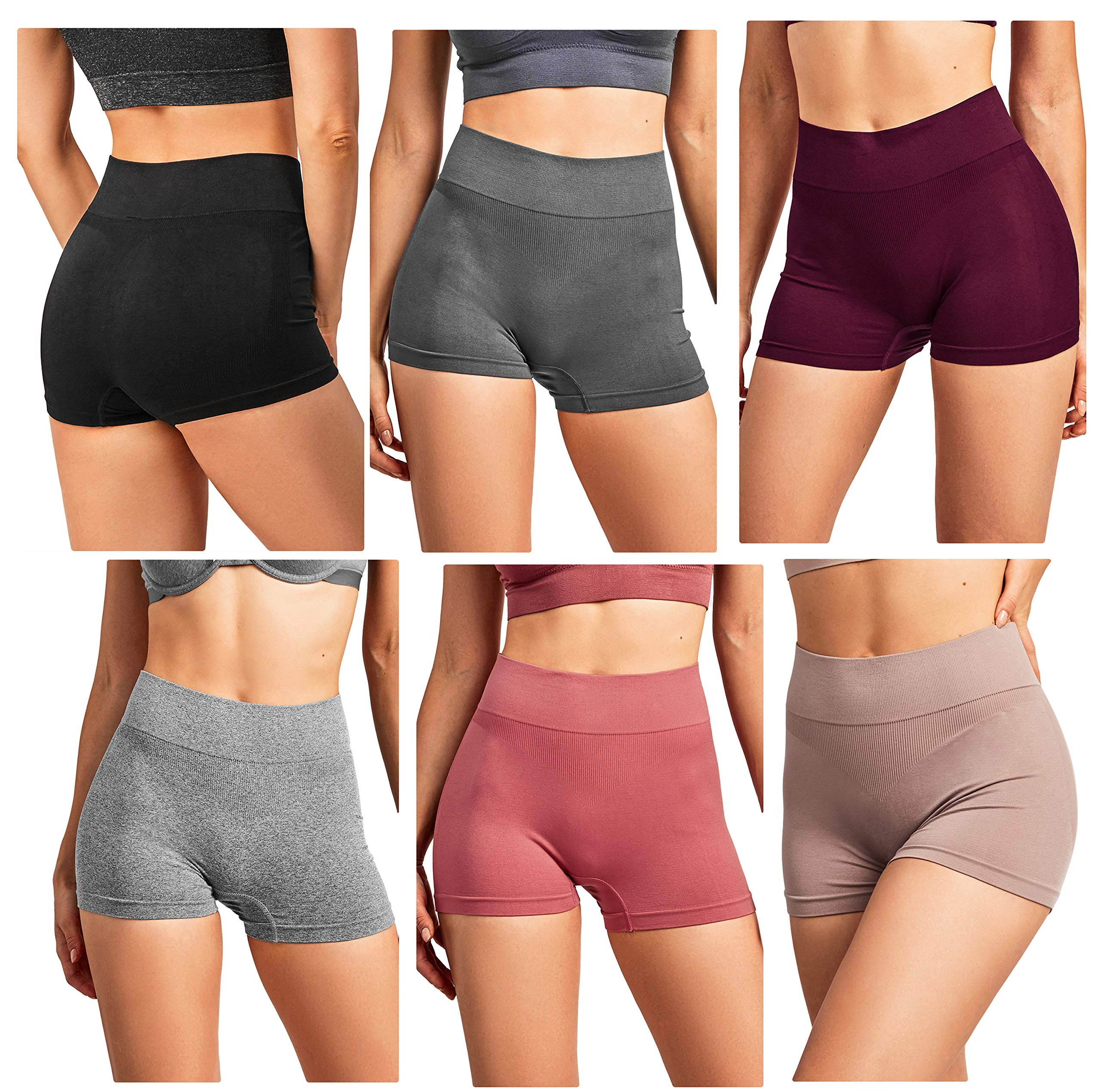 Gilbins Women Seamless Stretch Boy Shorts Panties Various Styles (High Waisted 1)