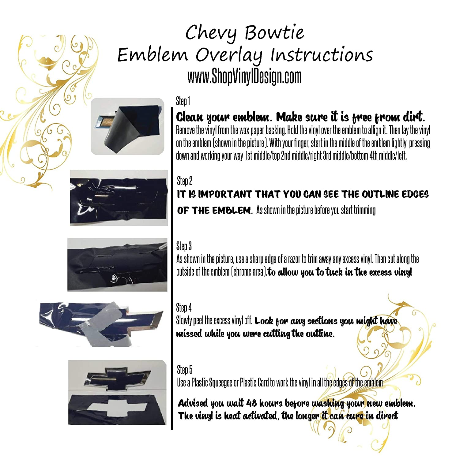 Emblem Overlay Kit DIY Extra Overlay Sheet || FREE Steering Wheel Kit Included Compatible with Chevy Bowtie SILVER METALLIC Silverado Colorado Suburban 1500 S10 Tahoe Camero and More 7