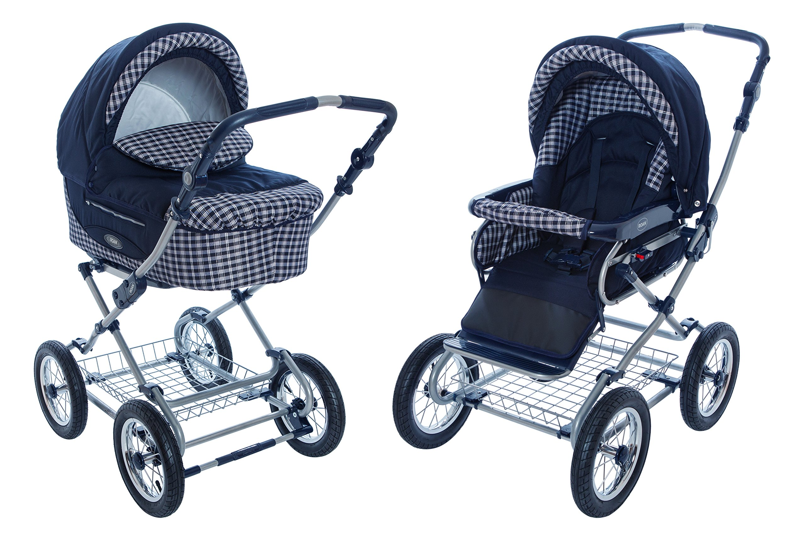 Roan Kortina Classic 2 in 1 Pram Stroller with Bassinet for Newborn Baby and