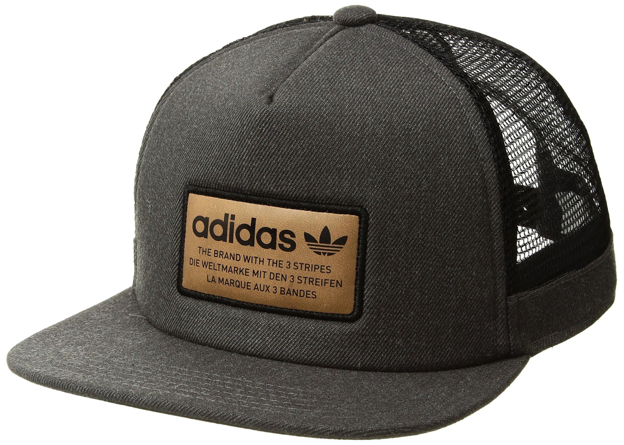 60fce572d6632e Galleon - Adidas Men's Originals Patch Trucker Structured Cap, Dark Heather  Grey/Black/Leather, One Size