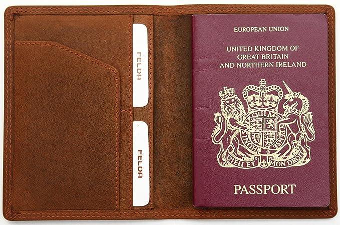 Bordkartenfach /& RFID-Blocker Reisepasshülle aus Leder Felda