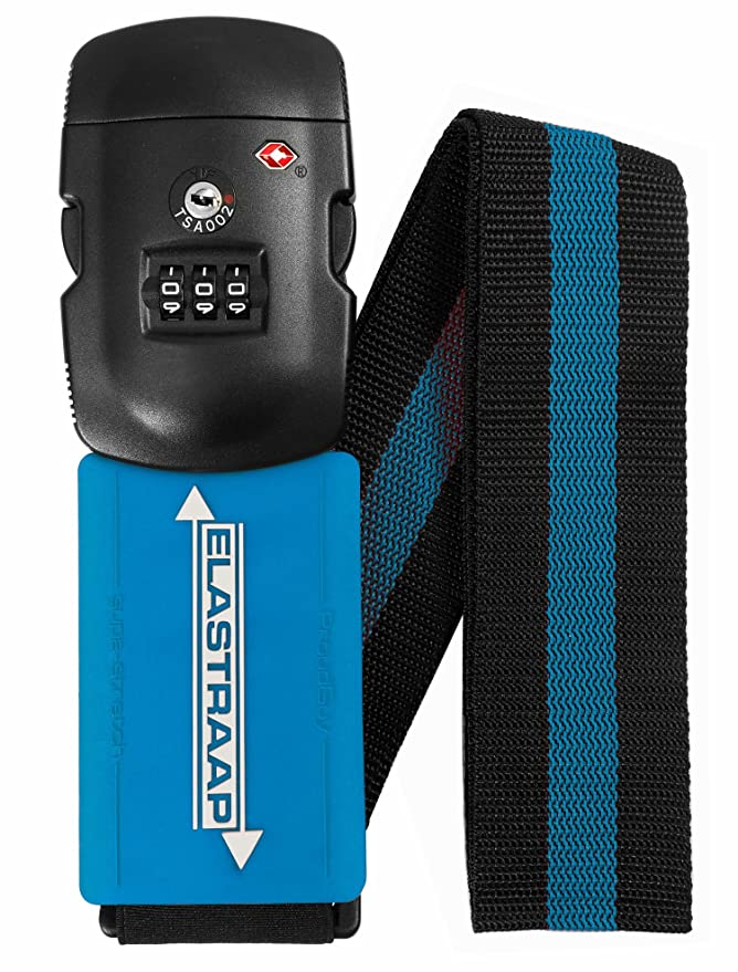 Luggage Strap ELASTRAAP Superior Strength NON-SLIP with TSA Combination Lock, Blue Raspberry