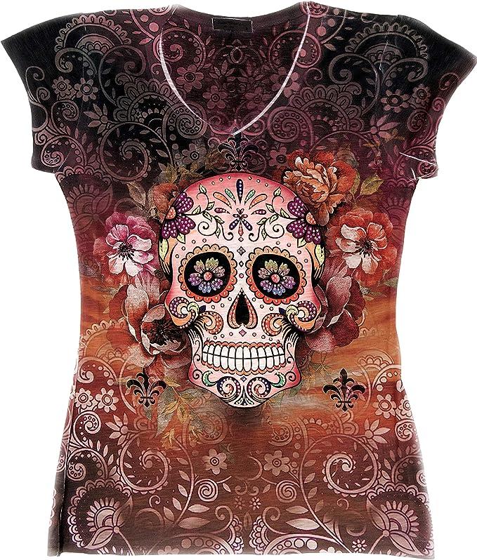 Sweet Gisele Sugar Skull Shirts for Women, V Neck T Shirt Tee, Beautiful Print Decorated with Rhinestones