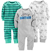 Simple Joys by Carter's Baby Boys' 3-Pack Jumpsuits, Dino, Green Stripe, Gray, 0-3 Months