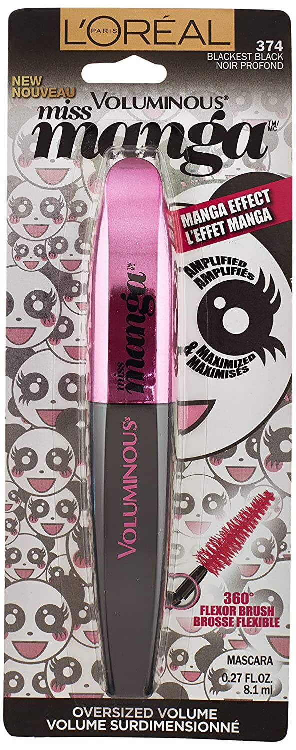 6a6d9d03882 Amazon.com : L'Oréal Paris Voluminous Miss Manga Washable Mascara, Blackest  Black, 0.27 fl. oz. : Beauty