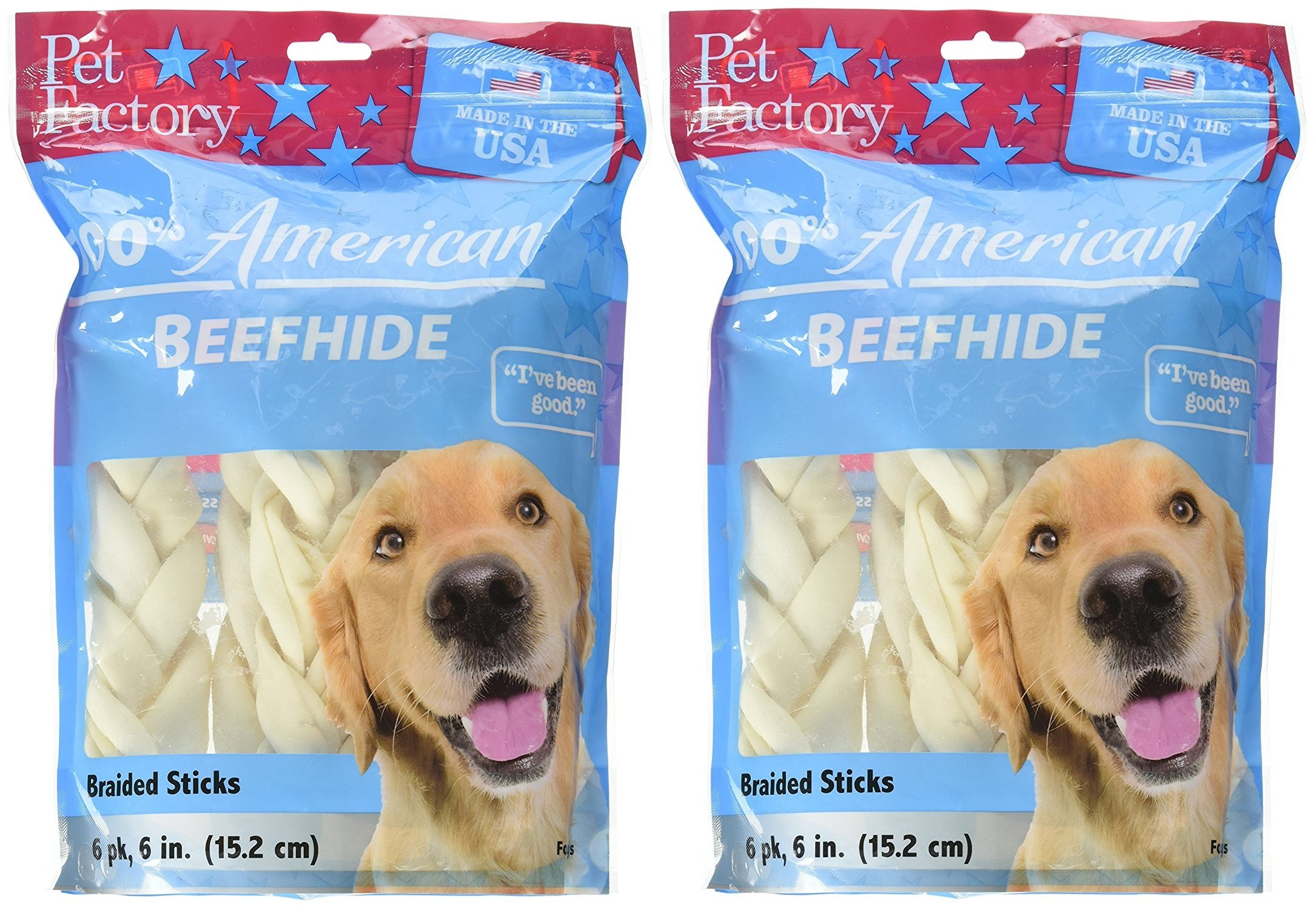 Pet Factory 78106 Beefhide 6'' Braided Sicks. 12 Pack. Made in USA (2 Packages of 6)