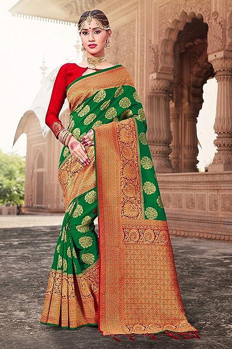 f4dc3c850 ELINA FASHION Sarees Women Banarasi Art Silk Woven Saree l Indian Wedding  Traditional Wear Sari
