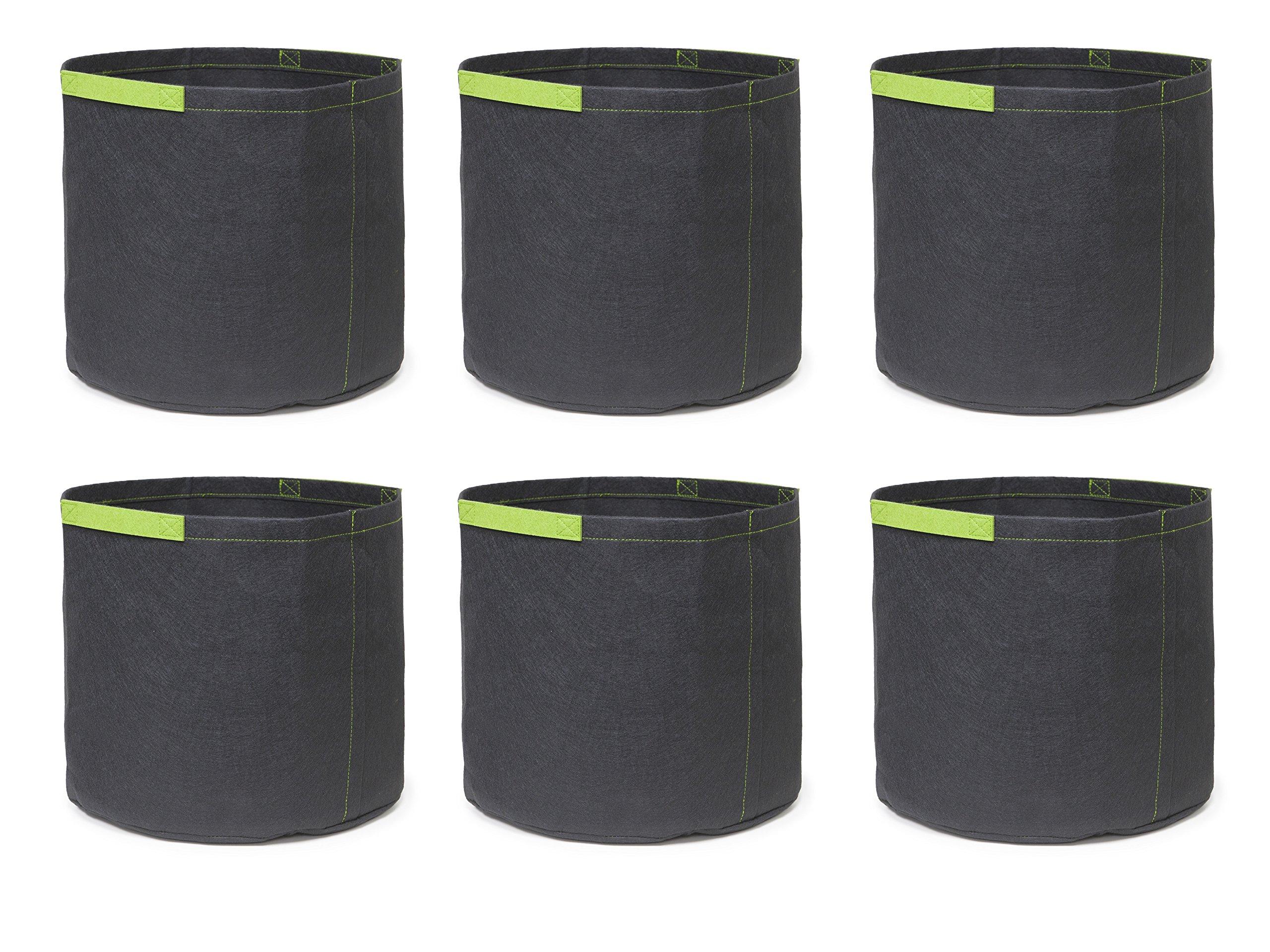 247Garden 6-Pack 3 Gallon Grow Bags/Aeration Fabric Pots w/Handles (Black w/Short Handles) by 247Garden
