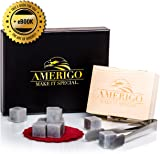 Luxury Whisky Stones Gift Set by Amerigo - Set of 9 Whisky Rocks - Reusable Drinking Ice Stones - Chilling Stones Gift Set with Hand Crafted Wooden Box, Stainless Steel Tongs and 2 Classy Coasters